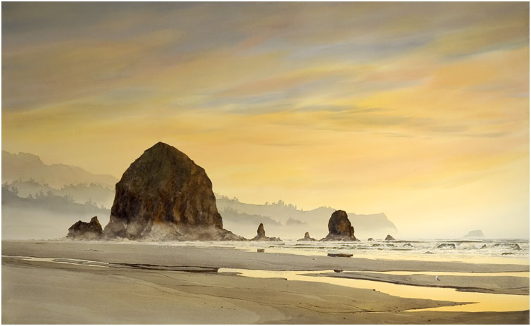 Haystack Rock Sunset The Jeffrey Hull Gallery Original
