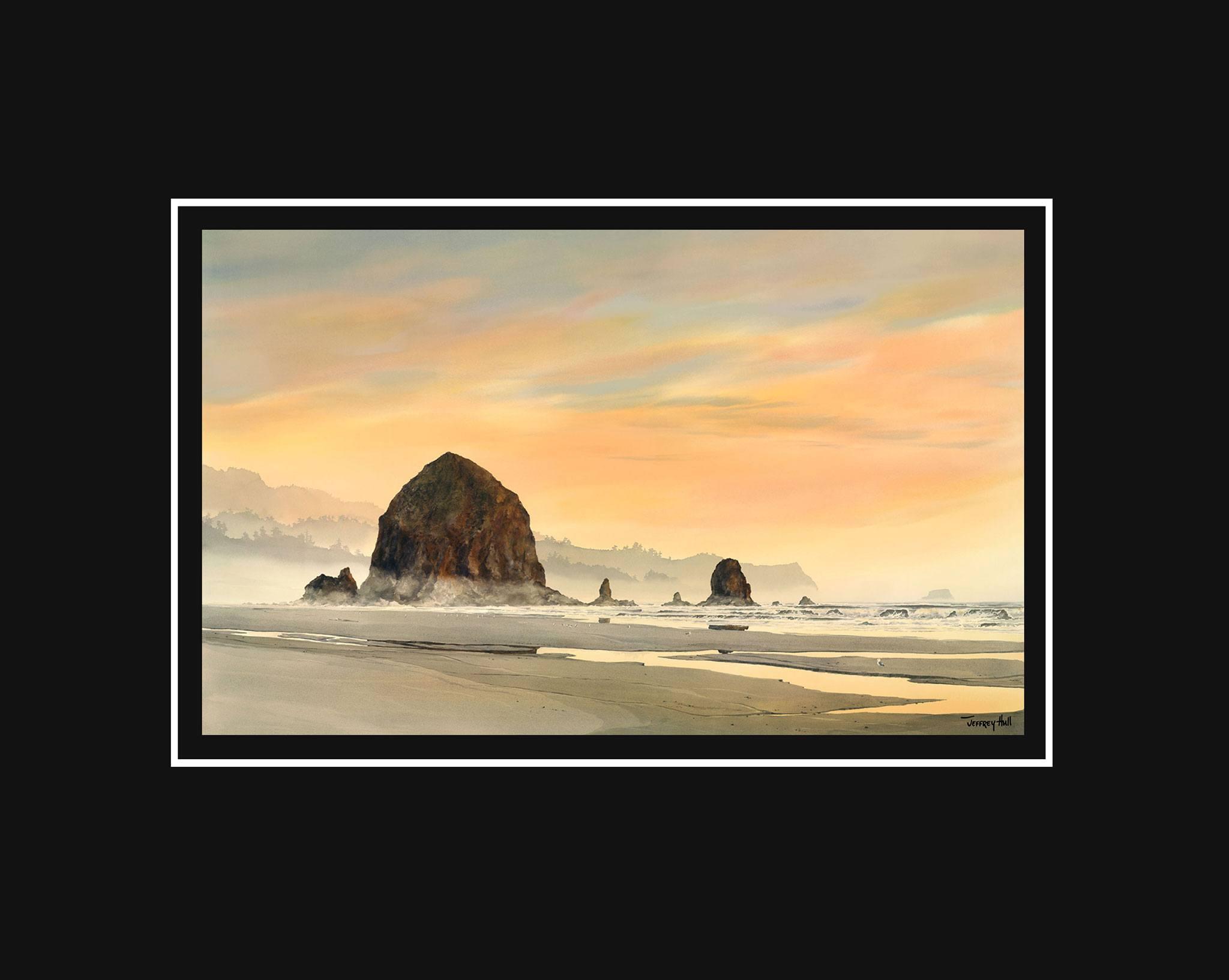 Haystack-Rock-Sunset-Mini-Unframed-Jet-Black-4-Website-2021